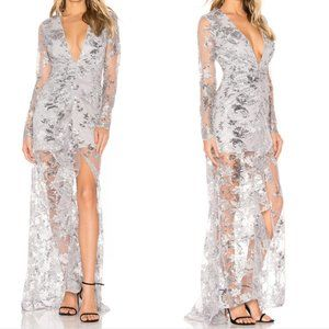 X by NBD Silver Sequin & Lace Ice Melts Gown